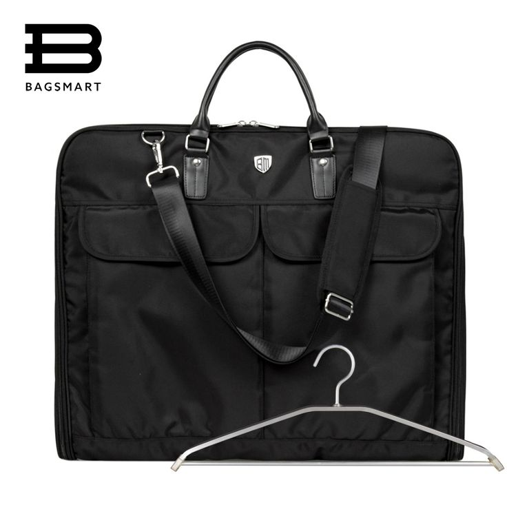 BAGSMART 2016 Waterproof Black Nylon Garment Bag With Handle Lightweight Suit Bag Durable Business Men Travel Bags For Suits
