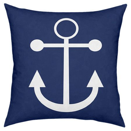 Throw pillow in navy with a white anchor print.   Product: PillowConstruction Material: Polyester and cotton