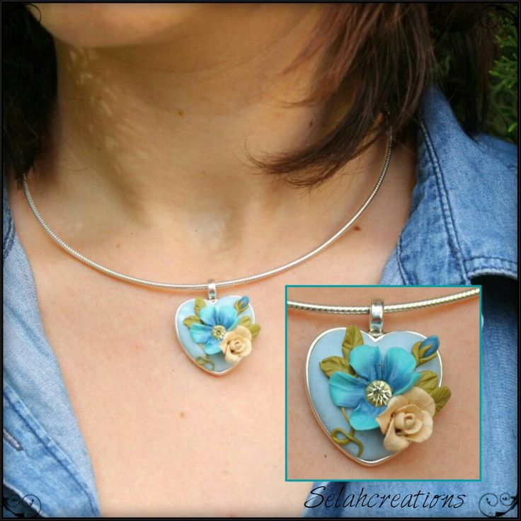 Rose and flower heart in blue, olive greenand cream