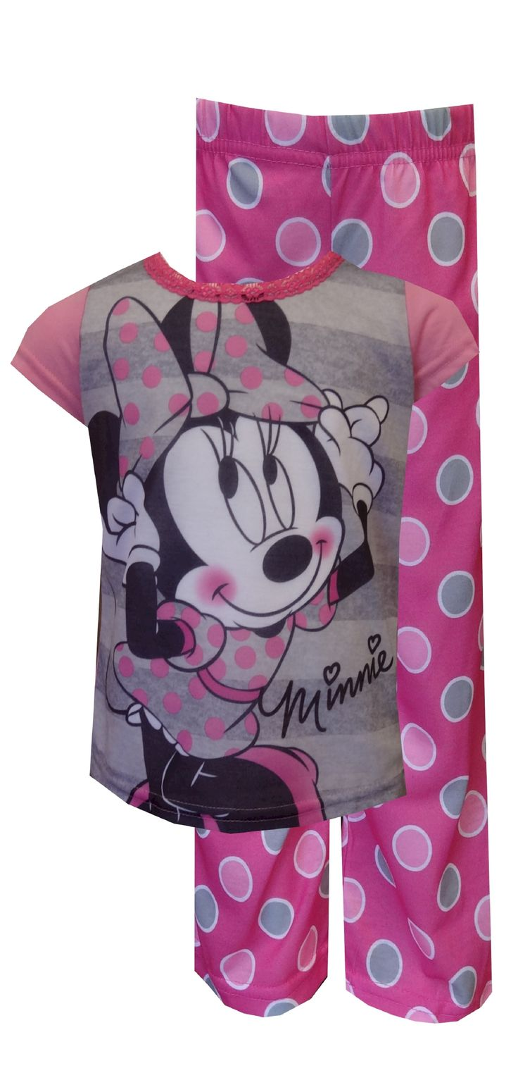 Disney Minnie Mouse Pink Polka Dot Pajamas So cute! These flame resistant pajamas for girls features Disney's Minnie Mouse dres...