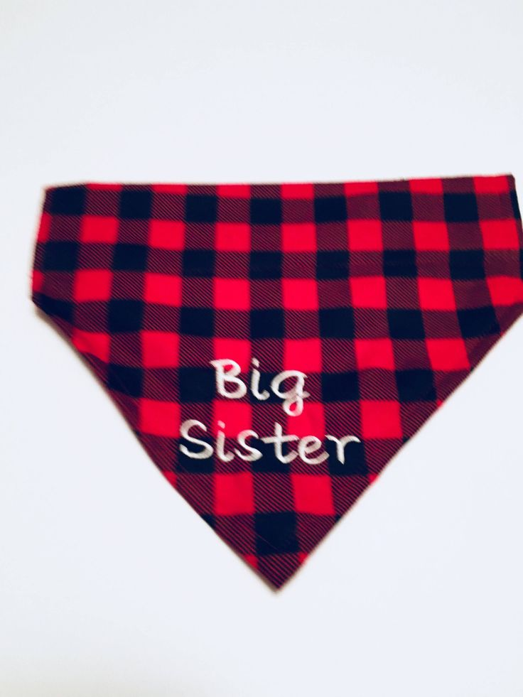 Excited to share the latest addition to my #etsy shop: Gender Reveal, Dog Bandana, Buffalo Plaid, Big Sister, Pregnancy announcement, Dog lovers gift, Slides over the Collar, Dog gift, #bigsisterbandana