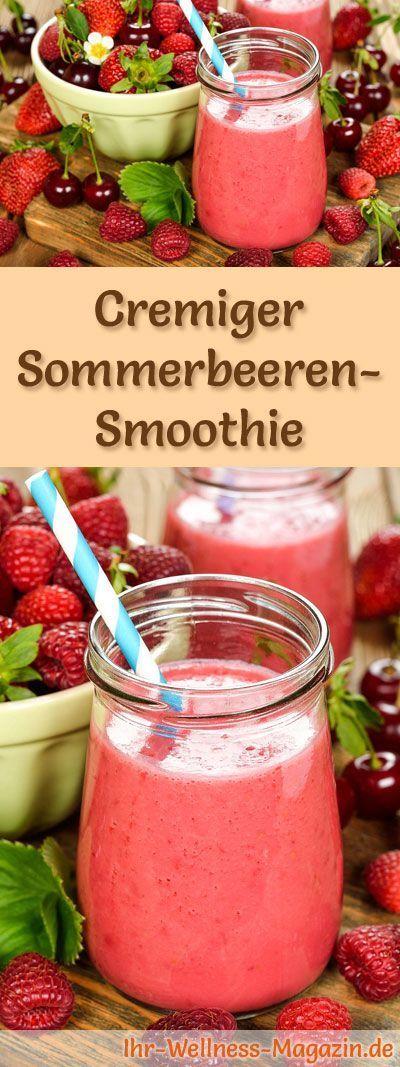 Sommerbeeren-Smoothie selber machen - ein gesundes Smoothie-Rezept zum Abnehmen für Frühstücks-Smoothies oder sättigende Diät-Mahlzeiten ...