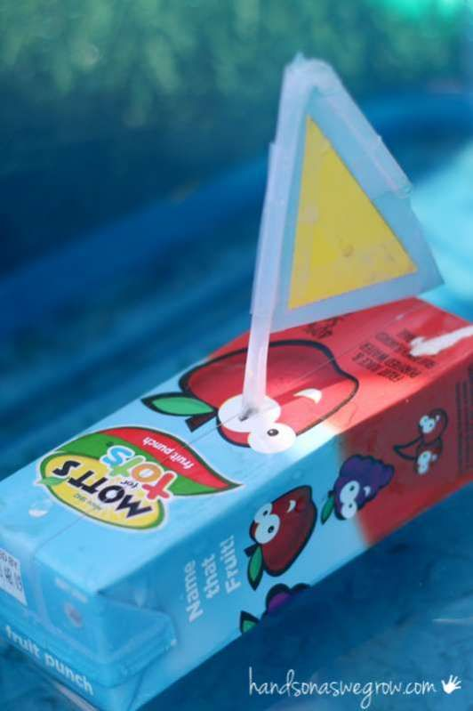 Juice boxes made into a boat craft for kids to play with! Find out how to make a boat craft for kids using something you're probably throwing away.