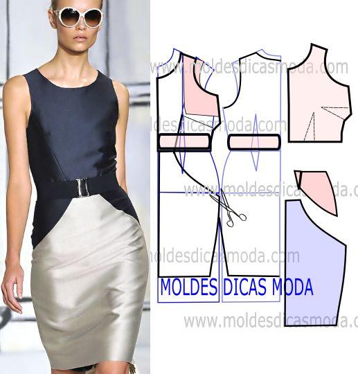 Analise o desenho da transformação do molde de vestido duas cores afina…