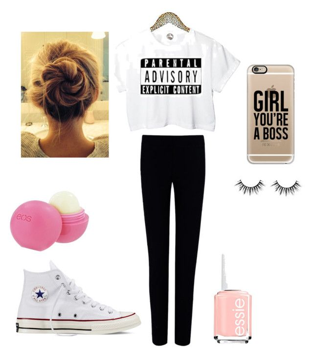 """""""everyday"""" by tiggerlilyxoxo ❤ liked on Polyvore featuring Joseph, Converse, Casetify, Eos and Essie"""