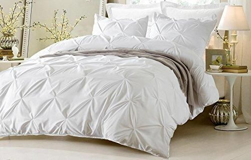 4pc Pinch Pleat Design White Bedding Set-Includes Comforter and Duvet Cover - Style # 1006 C - Full/Queen - Cherry Hill Collection