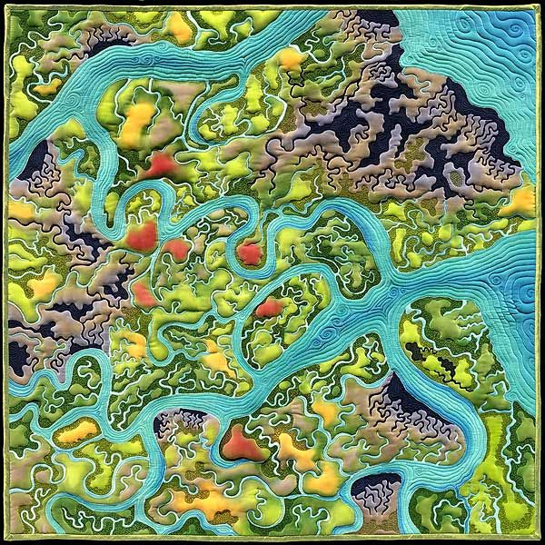 """Wetlands Dream Revisited"" map quilt by Linda Gass, This is my imagined restoration of Bair Island in the San Francisco Bay, near Redwood City, California. The current landscape of Bair Island is shown in the work Puzzle of Salt - most of the wetlands have been converted to salt ponds."