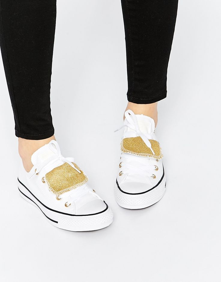 Image 1 ofConverse Double Tongue White Ox Trainers
