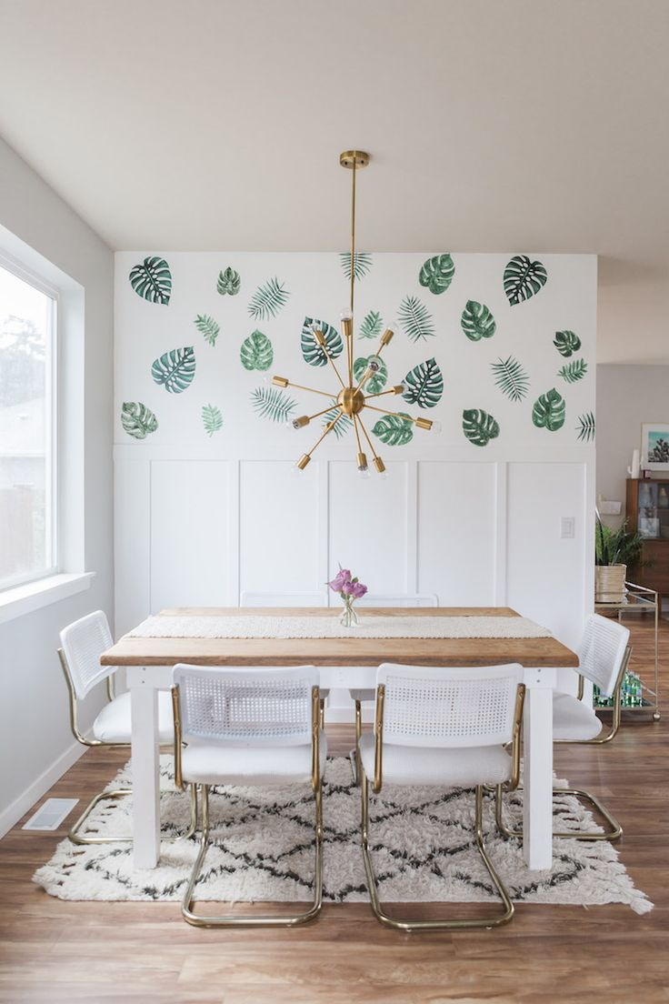 white, green and gold dining room