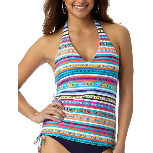 Anne Cole Turquoise & Pink Geo Stripe Halter Tankini ($35) ❤ liked on Polyvore featuring swimwear, bikinis, halter top, halter tankini, anne cole swimwear, halterneck bikini and stripe bikini