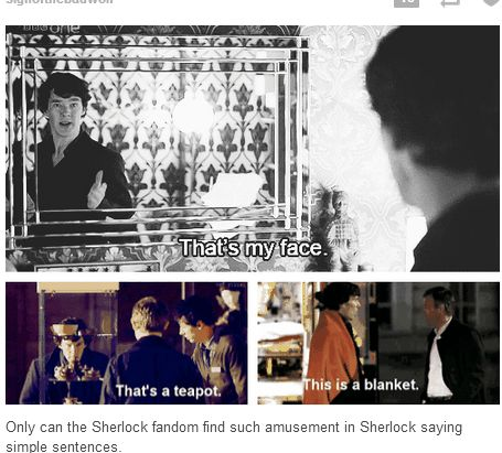 Because we are the Sherlock fandom. We have literally dissected every freakin' moment of this entire show and found three instances where he said simple things that amused us. And because we are SO bored on this hiatus, we, in typical Sherlockian fashion, had to share our discovery to the world. Obviously.<--this