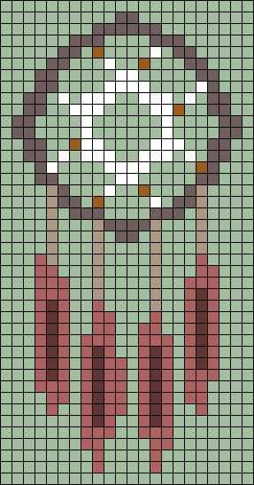 Dreamcatcher perler bead pattern