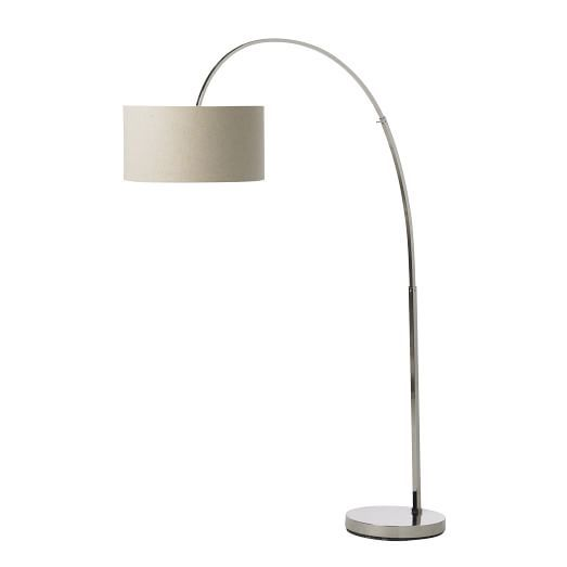 overarching floor lamp polished nickel west elm 299 - Living Room Lamps