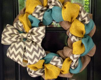 Chevron Burlap Wreath for front door or by SimplyBlessedGift
