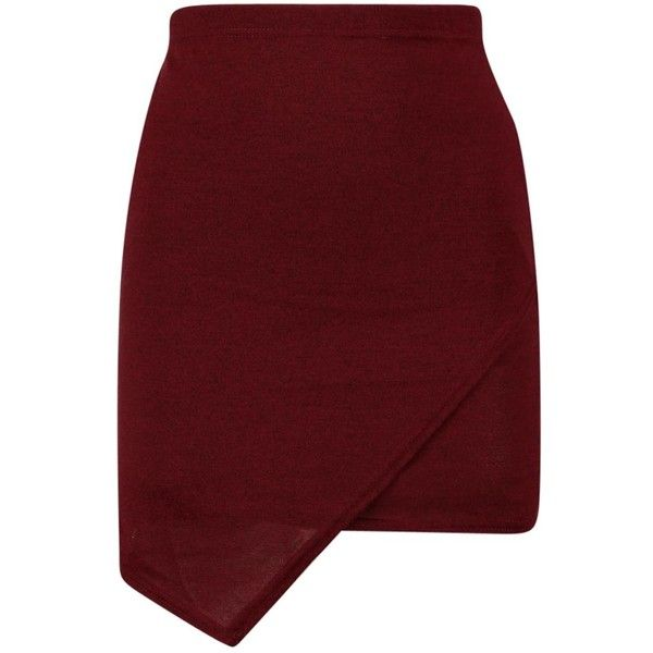 Harriet Wrap Over Knitted Mini Skirt found on Polyvore featuring skirts, mini skirts, bottoms, red skirt, red wrap skirt, short wrap skirt, wrap skirt and wrap mini skirt