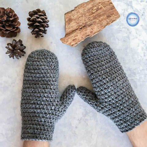 Basic Bulky Mens Mittens Crochet Pattern Crochet Mittens Mittens