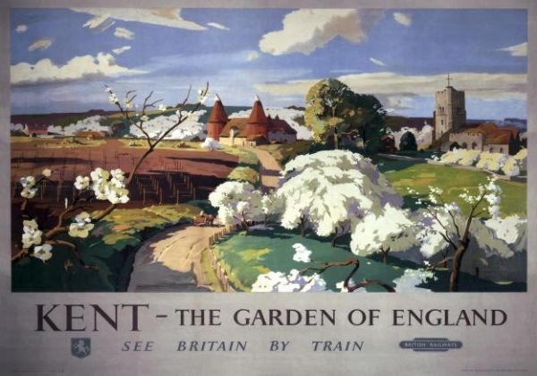 Kent, Garden of England, Vintage Railway Travel Poster Print by British Railways Southern Region