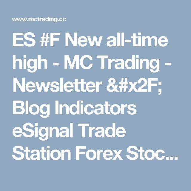 ES #F New all-time high - MC Trading - Newsletter / Blog Indicators eSignal Trade Station Forex Stock Market Commodities Futures