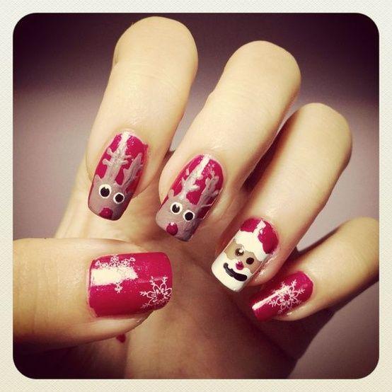 Creativo e unico Natale vacanze Nail Design ♥ Babbo Natale e Renne di Natale con fiocchi di neve Nails Nail Stickers