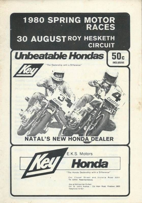 Roy Hesketh Racing Programmes 30th August 1980 | Pietermarizburg