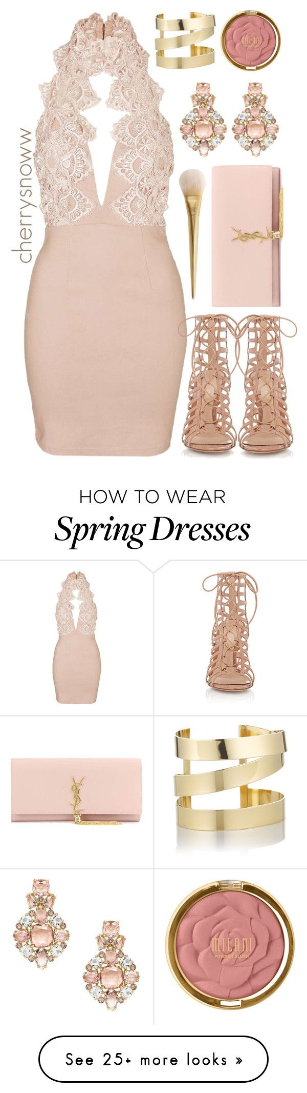 """""""Classy chic spring party outfit"""" by cherrysnoww on Polyvore featuring Topshop, Gianvito Rossi, Yves Saint Laurent, Milani, Kate Spade and Étoile Isabel Marant"""