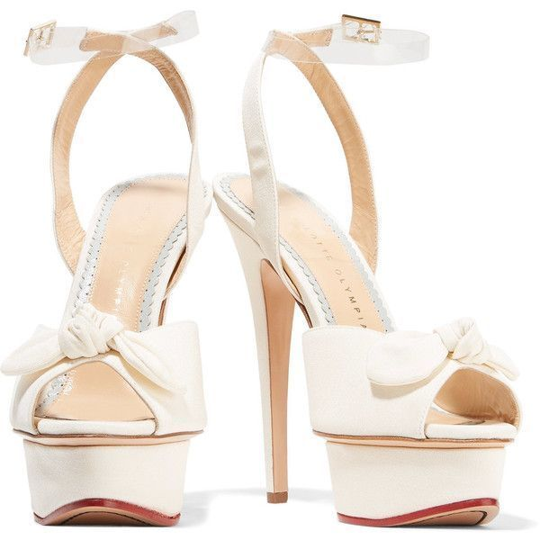 Charlotte Olympia - Serena Bow-embellished Satin Sandals ($372) ❤ liked on Polyvore featuring shoes, sandals, ivory sandals, strappy high heel sandals, ballet shoes, high heeled footwear and retro shoes #charlotteolympiaheelsplatform