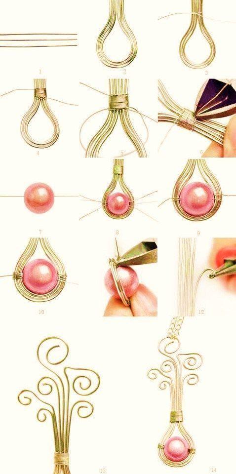 02a8a5f2bfed dije perla  dijes alambre bisuteria paso a paso gratis diy como se hace  como hacer