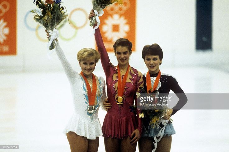 The medals ceremony for the Women's Figure Skating. From left to right: Rosalyn Sumners of the United States (Silver), Katarina Witt of East Germany (Gold) and Kira Ivanova of the USSR