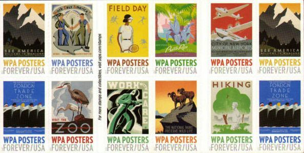 The booklet features 20 stamps of 10 different designs originally created to support the civic-minded ideals of Franklin D. Roosevelt's New Deal Program. Each stamp features a striking example of the posters conceived and printed in workshops across the nation under the WPA. Formed in 1935 as the Works Progress Administration, renamed the Work Projects Administration in 1939, the WPA lasted until 1943.