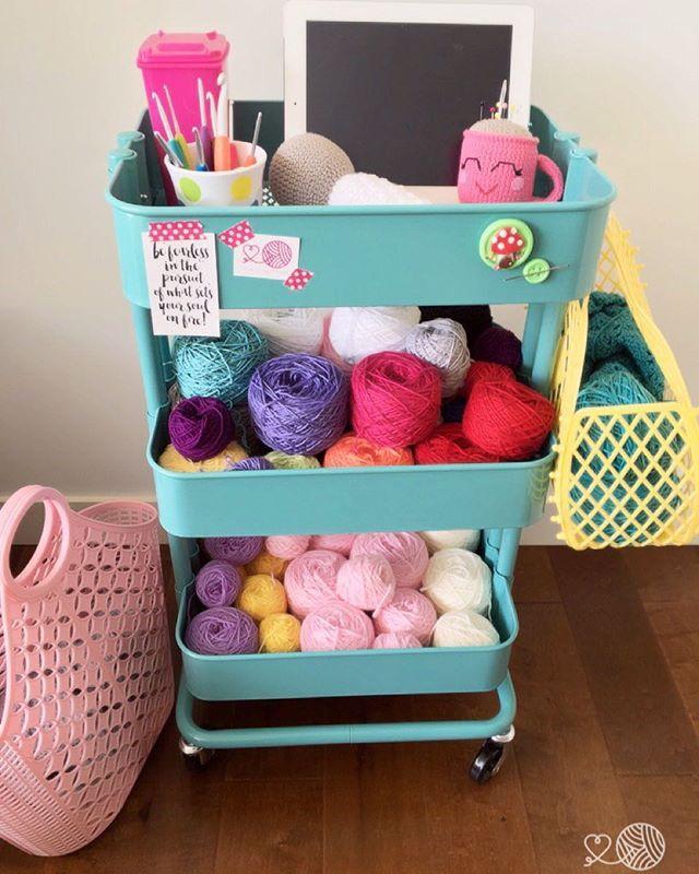 Little Cosy Things - crochet yarn storage. Crochet trolley, yarn stash @littlecosythings #littlecosythings raskog ikea trolley