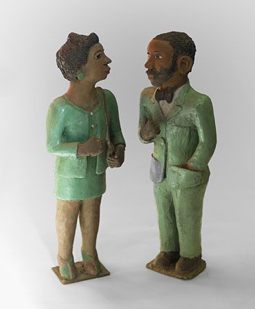 Noria Mabasa (b 1938). THE PROPOSAL c1980. Clay figures, 74cm each (height).