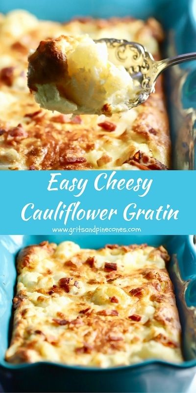 Easy Cheesy Cauliflower Gratin is the perfect low-carb side dish for Christmas dinner or anytime you want to treat your family or guests to a special dish!  via @gritspinecones