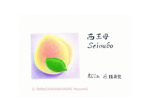 """2013_04_29_seioubo_01_s    松江 桂月堂の和菓子  西王母    peach shaped wagashi.    The name is """"Seioubo""""    Wagashi is general term for characteristically Japanese confectionery.    wagashi is beautiful and delicious.  I love !    For this piece I used:   Faber-Castell Polychromos  and Stonehenge paper."""
