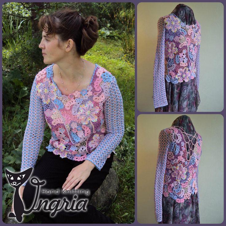 Кофточка Ноктюрн, вязание, ирландское кружево, irish crochet, автор Ингрия (Ingria).
