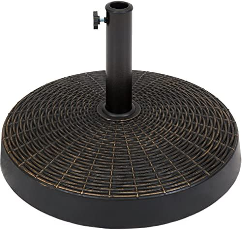 Best Seller Best Choice Products Round 55 Pound Wicker Style Resin Patio Umbrella Base Stand W 1 75 Inch Hole Bronze Finish Rust Resistance Black Online A In 2020 Patio Umbrella Stand Patio