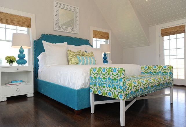 blue and green bedroom wall paint color is bm horizon