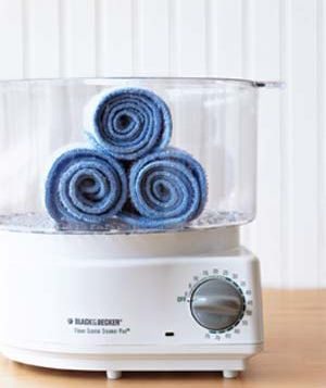 Re-purpose your rice steamer as a towel warmer for facials and other ideas. Great idea!!
