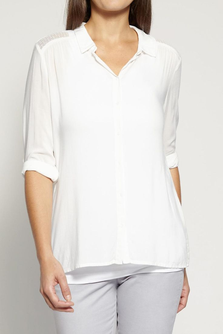 This lovely white blouse drapes beautifully and softly around the body. It is slim fitting and and flatters the body. Where it tucked in or out. Pretty shoulder detail adds a touch of femininity to the blouse. Roll up the sleeves for a more casual cool look.Sizes are UK. UK Size 4 = US 1; UK 6 = US 2; UK 8 = US 4; UK 10 = US 6; UK 12 = US 8; UK 14 = US 10; UK 16 = 12; UK 18 = US 14; UK 20 = US 16; UK 22 = US 18  White Shirt by Sandwich. Clothing - Tops - Blouses & Shirts Canada