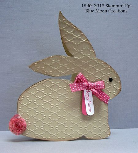 Rabbit - website has link to free rabbit pattern for this card.  Fancy Fan embossing folder.  Love this!