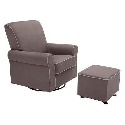 Delta Children Rowen Nursery Glider Swivel Rocker Chair - Graphite/Dove Gray Welt, Graphite W/Dove Gray Welt
