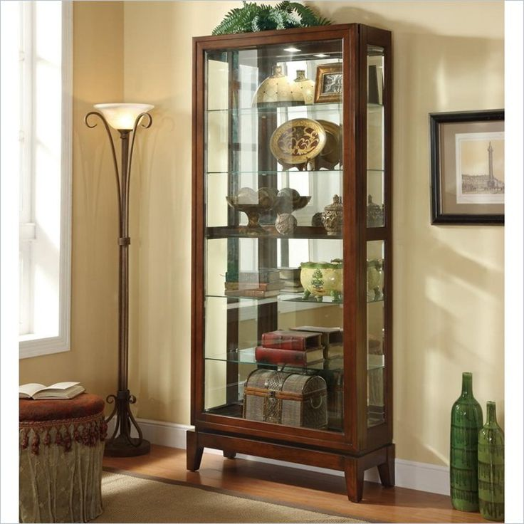 6 Shelf Curio Cabinet with Mirrored Back in Dark Cherry ...