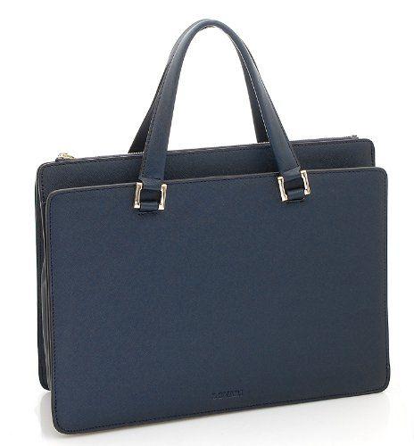 BOVARI Victoria sac à main sac porté épaule - cuir de veau à imprimé saffiano - 39x29x13cm - bleu / indigo blue - Le Sac en Cuir