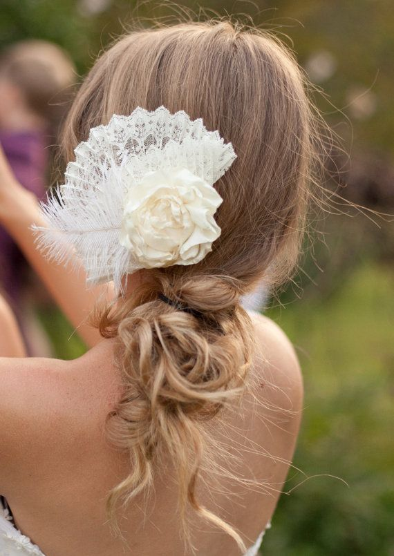 Bridal Hair Accessory: Ivory, Cream, Ruffle Flower Rose, French Vintage Style Comb with Fan of Lace and Feather, vintage wedding dress, off the shoulder sleeves, farm wedding, vintage bridesmaid dress, yellow and pink