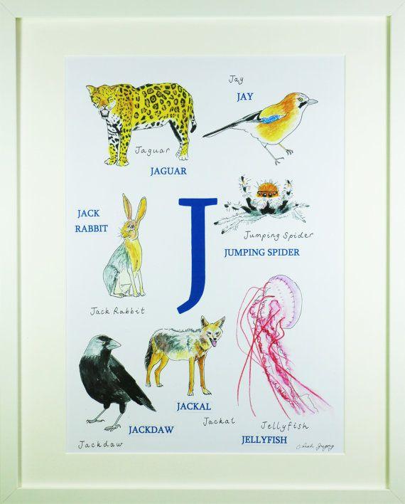 Animal Alphabet Letter J Animals Beginning With J Etsy Animal Alphabet Letters Nursery Art Boy Kids Art Prints