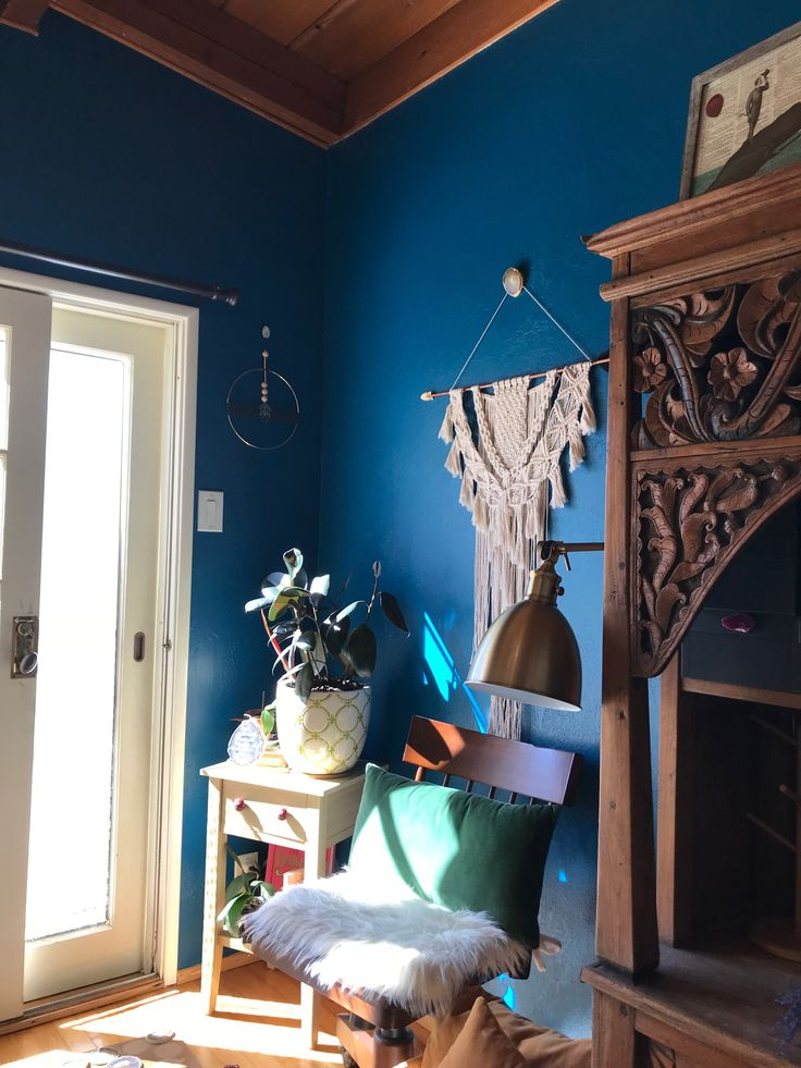Boho macrame delight! Macrame wall hanging complete with @suspend.it wall hook to hide the ugly screw. Blue wall color is Oceanside by Sherman Williams.