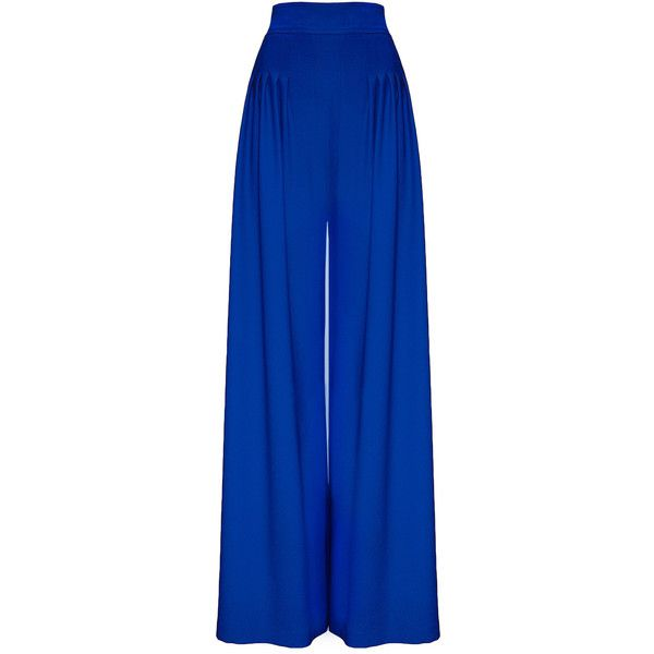 Hebe Studio - The Hebe Suit Blue Royal Palazzo Pants (£165) ❤ liked on Polyvore featuring pants, zipper pants, palazzo trousers, viscose pants, high-waist trousers and highwaist pants