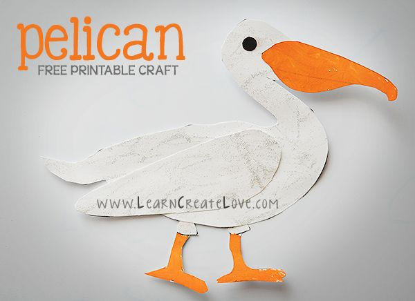 Printable Pelican Craft from LearnCreateLove.com