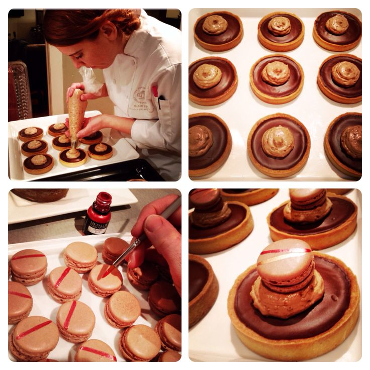 LaBKRY Finition des tartelettes au chocolat avec crème praliné et petits macarons! #chocolatepie #ganache #praliné #pie #labkry #dessert #dessertmontreal #514 #yul #mtl #montreal #minitartes #macaron  www.facebook.com/labkry Natasha Bouchard