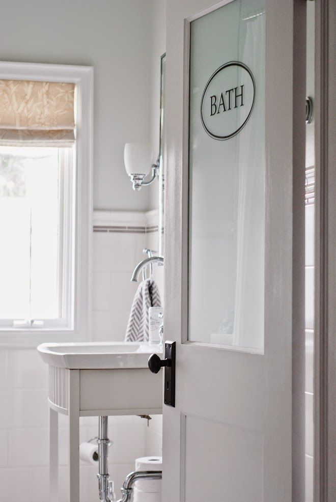 Rambling Renovators New Traditional Bathroom Black White Frosted Door Home Love