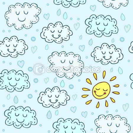 Синий фон с милой облака и солнце. Детский блестящий фон. Бесконечные текстуры могут быть использованы для Обои для рабочего стола, фон веб-страницы, узорные заливки, текстуры поверхности — Stock Illustration #72071391